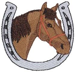 Horse W/ Horseshoe embroidery design