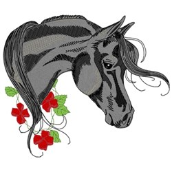 Black Arabian W/ Flowers embroidery design