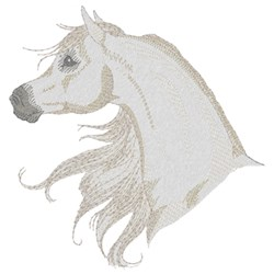 White Arabian Horse embroidery design