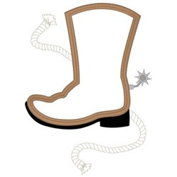 Cowboy Boot Outline embroidery design