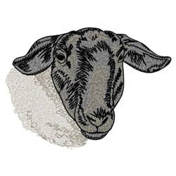 Suffolk Sheep Head embroidery design