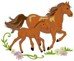 Mare & Foal embroidery design