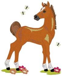Foal & Butterflies embroidery design