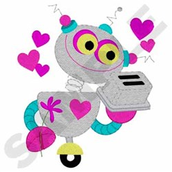 Robot In Love embroidery design
