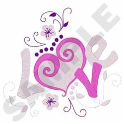 Love Heart Swirl embroidery design