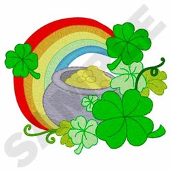 Shamrocks, Gold & Rainbow embroidery design