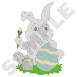 Bunny Painting Eggs embroidery design