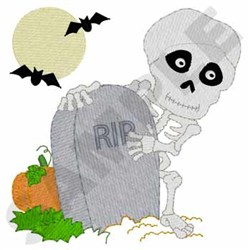 Skeleton In Graveyard embroidery design