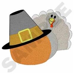Thanksgiving Turkey W/ Pumpkin embroidery design