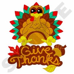Happy Turkey - Give Thanks embroidery design