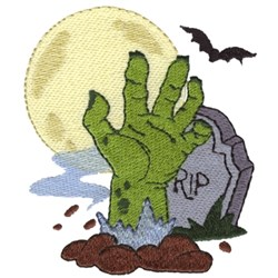Zombie Hand In Graveyard embroidery design