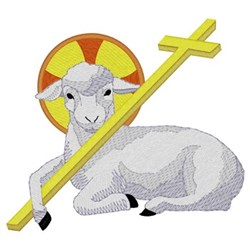 Lamb With Cross embroidery design