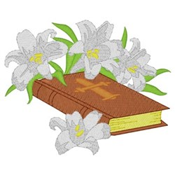 Bible With Lilies embroidery design
