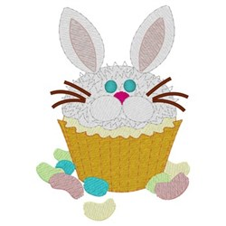 Easter Bunny Cupcake embroidery design