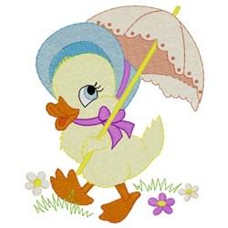 Easter Ducky W/ Umbrella embroidery design