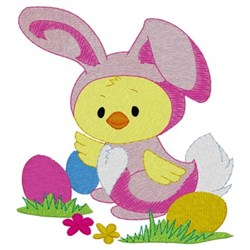 Chick In Bunny Suit embroidery design