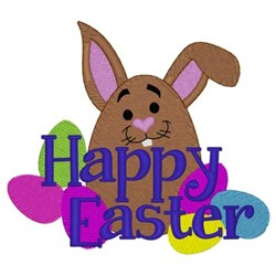 Happy Easter Egg Bunny embroidery design
