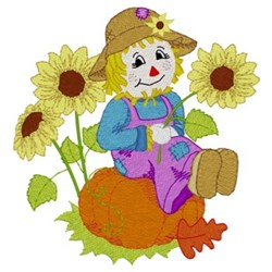 Scarecrow & Sunflowers embroidery design