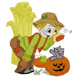 Scarecrow & Kitten embroidery design
