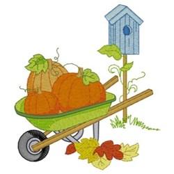 Pumpkins In Wheelbarrow embroidery design