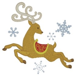 Reindeer Flying embroidery design