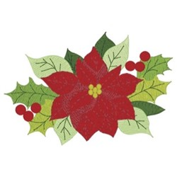 Poinsettia & Holly embroidery design
