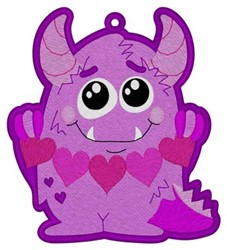 Valentine Monster Bookmark embroidery design