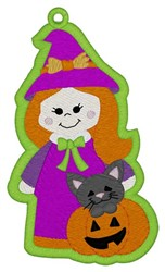 Witch Bookmark embroidery design