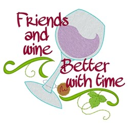 Friends & Wine embroidery design