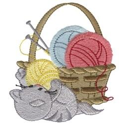 Knittin Kitten embroidery design