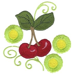 Cherries W/ Swirls embroidery design