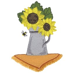 Bee W/ Sunflowers embroidery design
