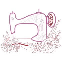 Sewing Machine Flowers embroidery design