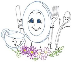 Happy Dishes embroidery design