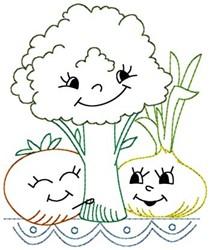 Happy Veggies embroidery design