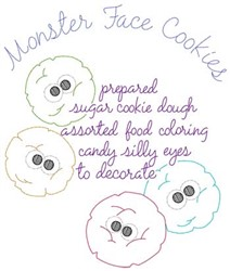 Monster Face Cookies embroidery design