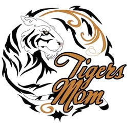 Tigers Mom - Swirl Circle embroidery design
