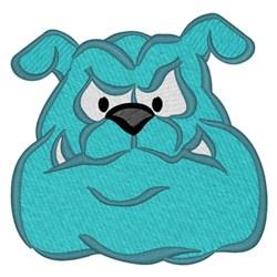 Teal Bulldog Head embroidery design