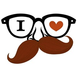 I Heart Moustache embroidery design