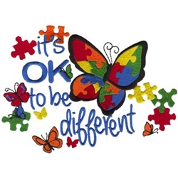 Butterfly Autism embroidery design