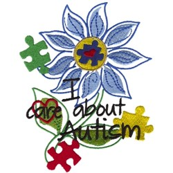 Autism Awareness Flower embroidery design