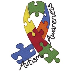 Autism Awareness Ribbon embroidery design