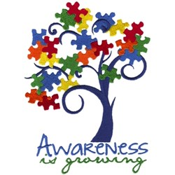 Autism Awareness Tree embroidery design