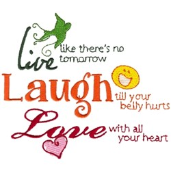 Live, Laugh, Love embroidery design