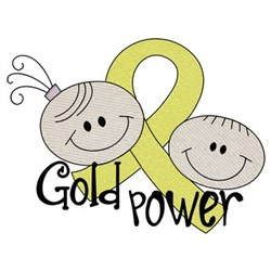 Gold Power Awareness embroidery design