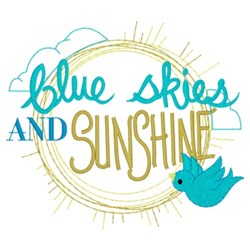 Blue Skies & Sunshine embroidery design