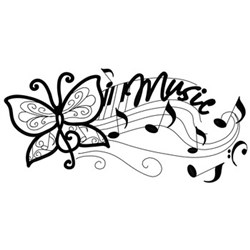 Music Notes W/ Butterfly embroidery design