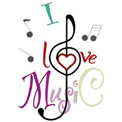 I Love Music embroidery design