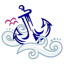 Anchor In Waves embroidery design