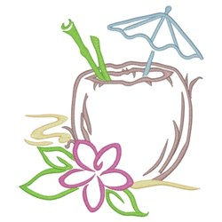 Coconut Tropical Drink embroidery design